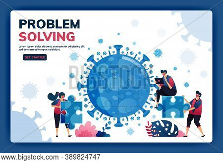Landing Page Vector Illustration Of Teamwork And Brainstorming To Solve Problems And Find Solutions