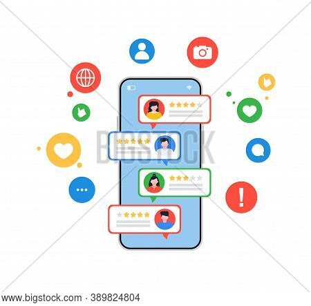 Review Rating Reputation Online Bubbles On Mobile Phone Or Customer Feedback Testimonials On Smartph