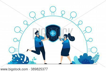 Vector Illustration Of Health Protection Insurance Services For The Covid-19 Virus. Health Cross Shi