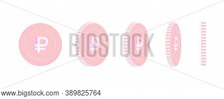 Russian Ruble Rotating Coins Set, Animation Ready. Pink Rub Copper Coins Rotation. Russia Metal Mone