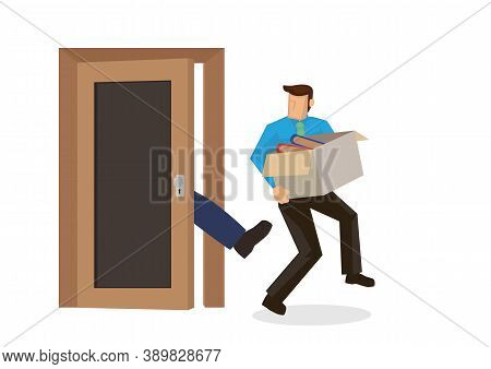 Employee Get Kick Out And Fired By His Boss From His Office, Packing His Belongings And Holding A Ca
