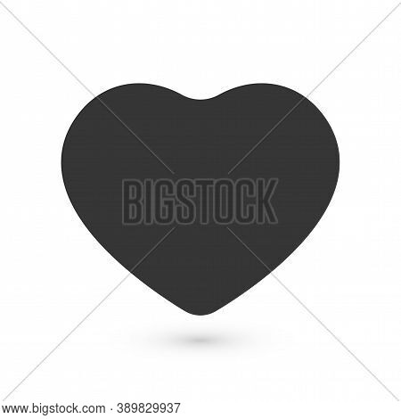 Black Flat Heart, Love Symbol With Rounded Corners, Vector Illustration Isolated On White Background