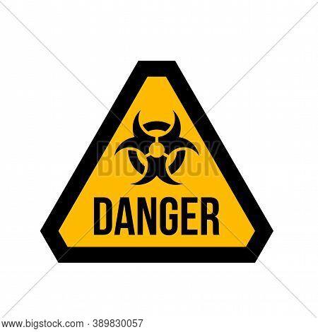 Hazard Warning Attention Biohazard Radiation Sign, Danger Triangle Symbol Isolated On White Backgrou