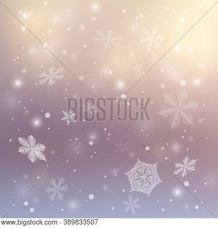 Christmas Banner. Realistic Shining Snowfall Background. Crystal Snowflake.winter Christmas Backgrou