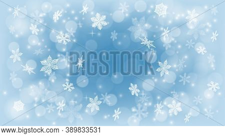 Holiday Background Template. Winter Background With Snow. Magic Snowfall Texture. Falling Snow. Fog,