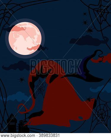 Halloween Concept With Witch's Hats, Bloody Red Full Moon, Silhouettes Of Spiders And Cobwebs.cemete