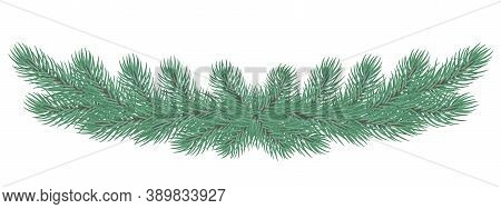 Christmas Wreath/garland . Winter Holidays Decoration. Christmas Tree  Frame With Fir And Spruce Eve