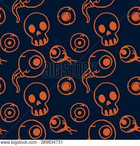 Skull And Eyeball On Navy Blue Backdrop. Halloween Seamless Pattern For Wallpaper, Wrap Paper, Sleep