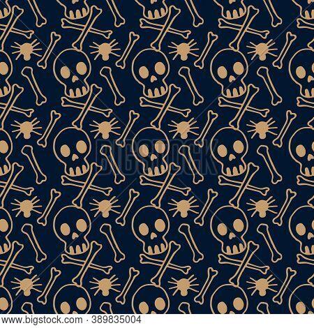 Skull And Bones On Navy Blue Backdrop. Halloween Seamless Pattern For Wallpaper, Wrap Paper, Sleeper