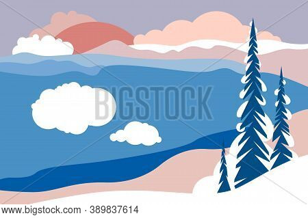 Landscape With Mountain Peaks, Hills, Forests And Fields, Foot, Slopes, Glaciers. Horizontal Poster