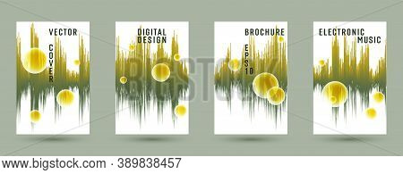 Music Covers Set With Sound Wave Background.  Abstract Audio Record Amplitude.  Distorted Sound Wave