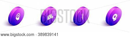 Set Isometric Head With Gear Inside, Calendar First September Date, Pen And Ringing Alarm Bell Icon.
