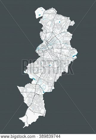 Manchester Map. Detailed Map Of Manchester City Administrative Area. Cityscape Panorama. Royalty Fre