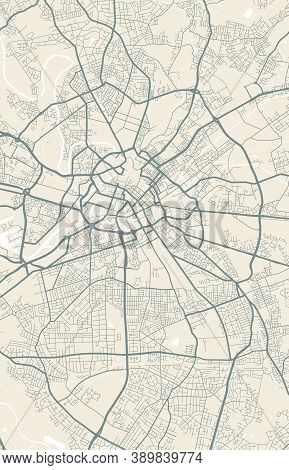 Detailed Map Of Manchester City Administrative Area. Royalty Free Vector Illustration. Cityscape Pan