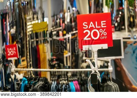 Sales Promotion Of Men Fashion Clothes Retail Store In Shopping Mall, Sale Mockup Advertise Frame Fo
