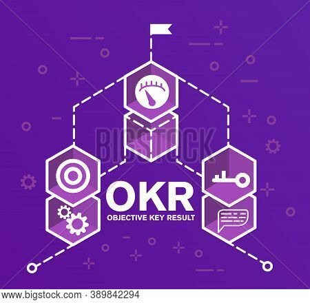 Okr Objectives And Key Results . Design Of Logo For The Website.key, Gear, Target, Speedometer, Flag