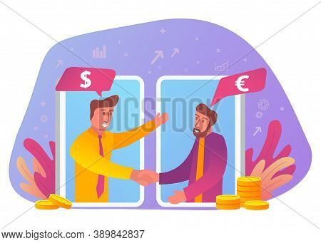 Successful Business Deal, B2b Concept.speech Bubble With Dollar And Euro Signs.