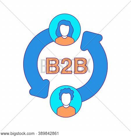 B2b Icon Isolated On White Background Vector Illustration. Business To Business.
