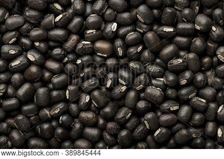 Black Gram Or Urad Beans Or Mung Beans Texture. Vigna Mungo Is Popular Indian Cuisine Food Ingredien