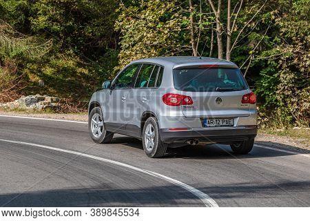 Silver Volkswagen Tiguan On Road In Bihor, Romania, 2020