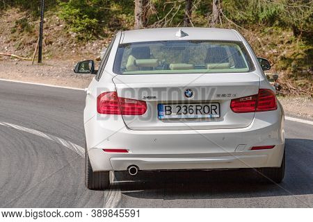 White Bmw 320D On Road In Bihor, Romania, 2020