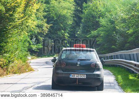Romanian Driving School Car On Road In Bihor, Romania, 2020