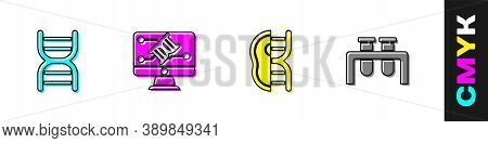 Set Dna Symbol, Genetic Engineering Modification, Genetically Modified Meat And Test Tube And Flask