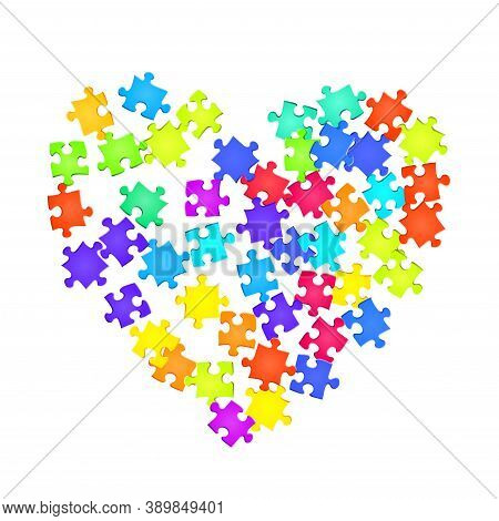 Game Riddle Jigsaw Puzzle Rainbow Colors Parts Vector Illustration. Top View Of Puzzle Pieces Isolat