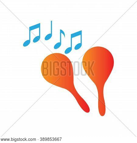 Maracas Musical Instrument Icon. Gradation Style Sign For Mobile Concept And Web Design. Percussion