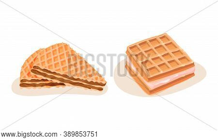 Waffle And Wafer With Textured Surface And Filling Vector Set