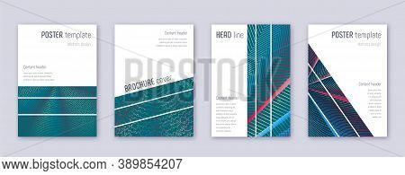 Geometric Brochure Design Template Set. Red Abstract Lines On White Blue Background. Alluring Brochu