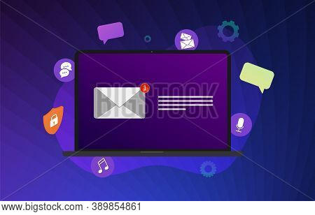 Email Message Notification Flat Vector Communication Illustration Concept. New Unread Newsletter Not