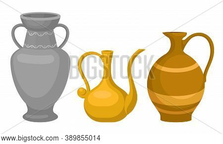 Ceramic Pitchers As Container For Pouring Liquids Vector Set