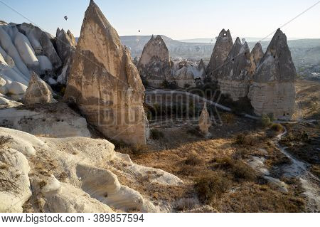View Of Valley With Incredible Stone Formations. Beautiful Landscape With Famous Caves And Rock Form