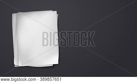 Stack Of Crumpled White Blank Note, Notebook Paper Are On Black Background For Text, Advertising Or