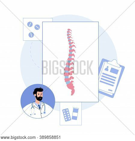 Spine Logo For Clinic. Spinal Pain In Backbone, Physiotherapy, Rehabilitation Center. Scoliosis, Ost