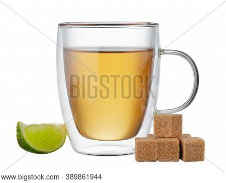 Glass Cup Of Black Tea With Bergamot Isolated On White
