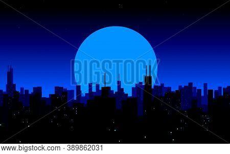 Moon Rising Over A City. Night City Skyline. Cityscape Background, Beautiful Night Sky With Stars Ov