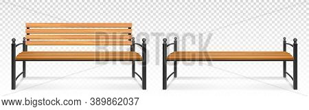 Wooden Bench For Park Or Garden. Vector Realistic Set Of Outdoor Furniture For Seat, Bench From Wood