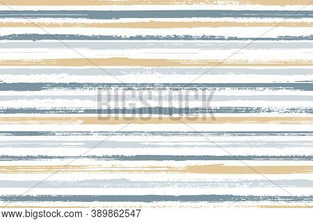 Ink Brush Stroke Rough Stripes Vector Seamless Pattern. Abstract Cotton Fabric Print Design. Vintage