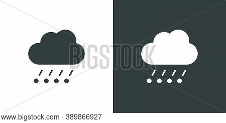 Rain, Hail And Cloud. Isolated Icon On Black And White Background. Weather Glyph Vector Illustration