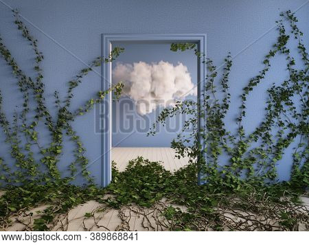 Fluffy cloud in blue room with ivy thickets, conceptual art, 3D illustration, rendering.