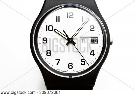 New York, Ny, Usa 07.10.2020 - Swatch Swiss Made Quartz Watch Isolated On White Background. Day And