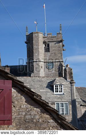 Rooftops In The Village Of Corfe In Dorset Including The Saint Edward, King And Martyr Church, Taken