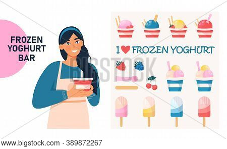 Frozen Yogurt Ice Cream Concept. A Happy Smiling Pretty Young Woman Standing Next To A Poster Depict