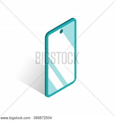 Smartphone With A Glossy Screen. Glare On The Glass. Vector Isolated Illustration In Isometric Style