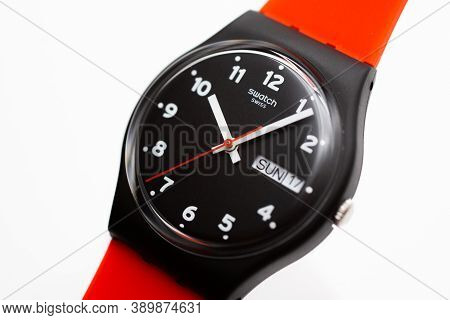 London, Gb 07.10.2020 - Swatch Swiss Made Quartz Watch Isolated On White Background. Day And Date Su