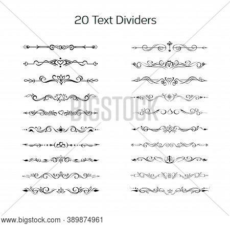 Set Of Hand Drawn Text Dividers, Line Borders, Vignettes. Elegant Lines, Borders, Separators, Page D