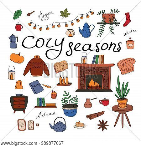 Cozy Seasons. Big Set Of Hygge Icons And Handwritten Lettering. Cute Elements For Posters, Cards, St
