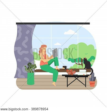 Freelance, Remote Work From Home Office, Flat Vector Illustration. Young Woman Working On Laptop Sit